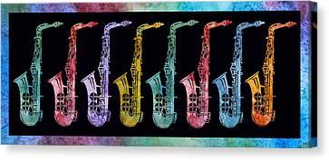 Rainbow Saxophones  Canvas Print by Jenny Armitage