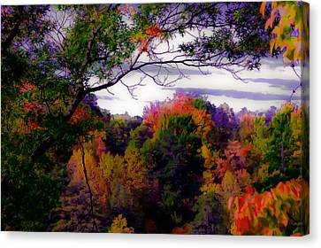 Rainbow Treetops Canvas Print by DigiArt Diaries by Vicky B Fuller