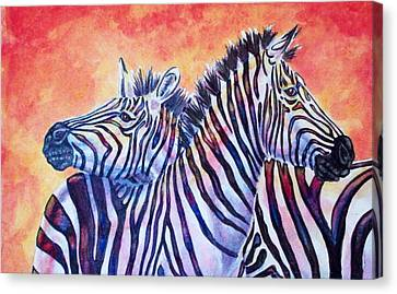 Rainbow Zebras Canvas Print by Diana Shively