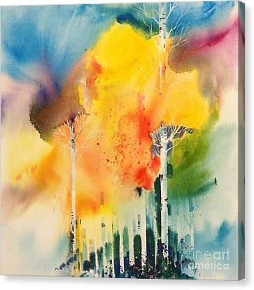 Rainy Aspens Canvas Print by Micheal Jones