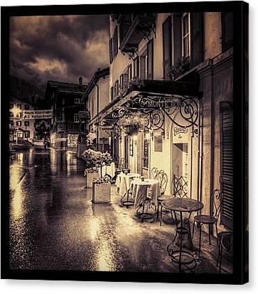 #rainy #cafe #classic #old #classy #ig Canvas Print by Abdelrahman Alawwad
