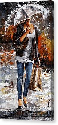 Brown Color Canvas Print - Rainy Day - Woman Of New York 06 by Emerico Imre Toth