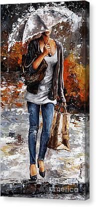Rainy Day - Woman Of New York 06 Canvas Print