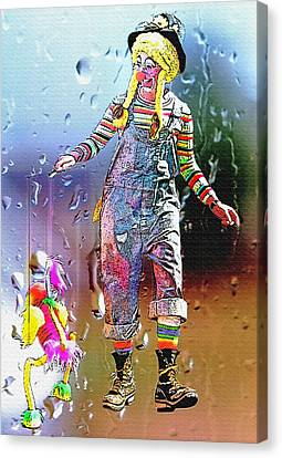 Rainy Day Clown 3 Canvas Print by Steve Ohlsen