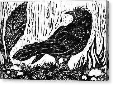 Rainy Day Crow Canvas Print by Ellen Miffitt