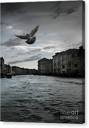Rainy Day In Venice On The Grand Canal Canvas Print by Gregory Dyer