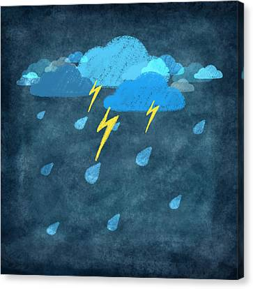 Sticky Note Canvas Print - Rainy Day With Storm And Thunder by Setsiri Silapasuwanchai