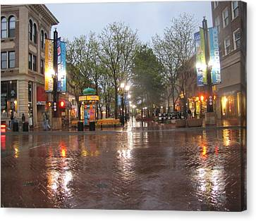 Canvas Print featuring the photograph Rainy Night In Boulder by Shawn Hughes