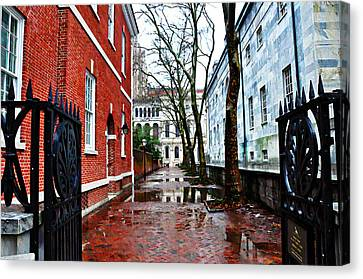 Rainy Philadelphia Alley Canvas Print by Bill Cannon