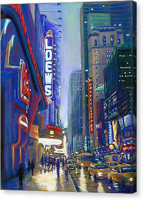 Rainy Reflections In Times Square Canvas Print by Li Newton