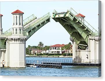 Raised Bridge Canvas Print by Kenneth Albin