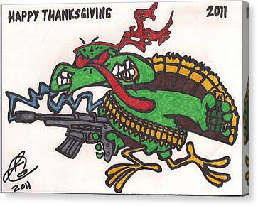 Canvas Print featuring the drawing Rambo Turkey by Jeremiah Colley