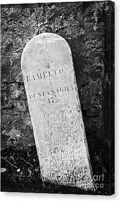 Ramelton Dunfanaghy Old Country Milestone Showing Distance In Irish Miles County Donegal Canvas Print