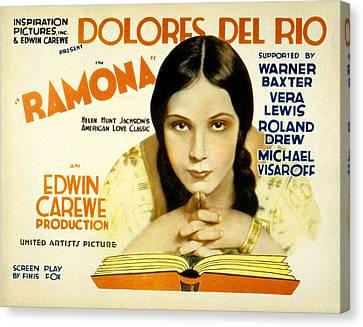 Ramona, Dolores Del Rio, 1928 Canvas Print by Everett