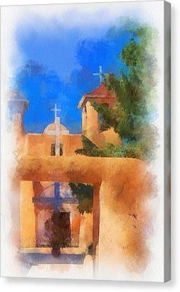 Ranchos Church Gate - Aquarell Canvas Print by Charles Muhle
