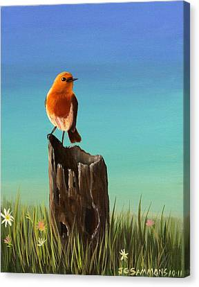 Canvas Print featuring the painting Randy The Robin by Janet Greer Sammons