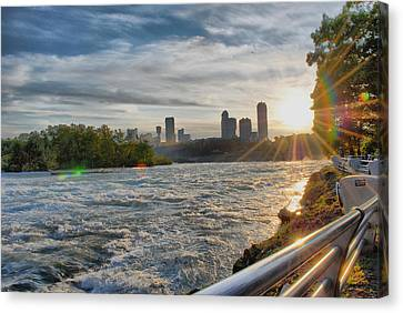 Canvas Print featuring the photograph Rapids Sunset by Michael Frank Jr