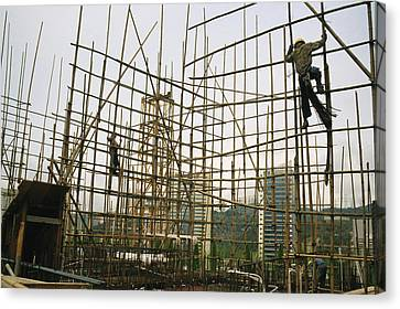 Rare Bamboo Scaffolding Used In Hong Canvas Print by Justin Guariglia
