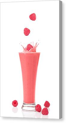 Raspberry And Strawberry Smoothie Canvas Print by Amanda Elwell