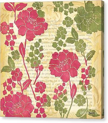 Raspberry Sorbet Floral 1 Canvas Print by Debbie DeWitt