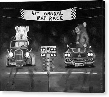 Rat Race Black And Wht Darker Tones Canvas Print by Leah Saulnier The Painting Maniac