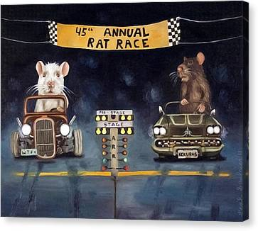 Rat Race Darker Tones Canvas Print by Leah Saulnier The Painting Maniac