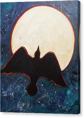 Raven And Bright Moon Canvas Print by Carol Suzanne Niebuhr