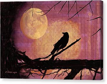 Raven And The October Moon Canvas Print by Arline Wagner