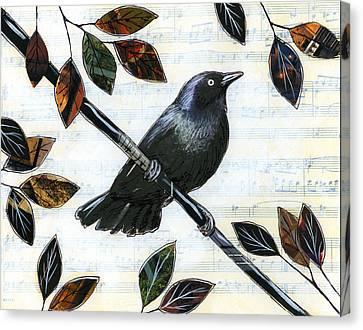 Raven Melody Canvas Print by Amy Giacomelli