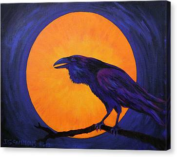 Canvas Print featuring the painting Raven Moon by Janet Greer Sammons