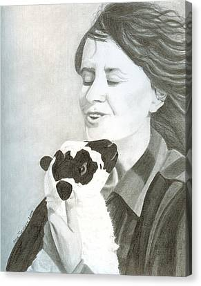 Canvas Print featuring the drawing Raven O'keefe And Minnie by Ana Tirolese