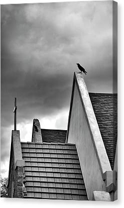 Raven On Church Canvas Print by James Bethanis