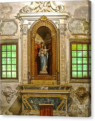 Ravenna Italy - Sant Apollinare Nuovo - Madonna And Child Canvas Print by Gregory Dyer