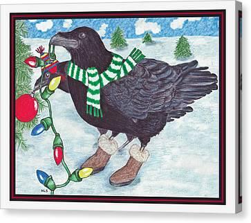 Ravens Holiday Canvas Print by Marla Saville