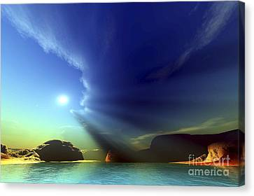 Sun Rays Canvas Print - Rays From The Sun Shine Down On This by Corey Ford