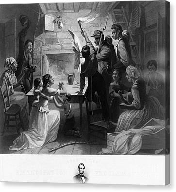 Reading Emancipation Proclamation Canvas Print by Photo Researchers