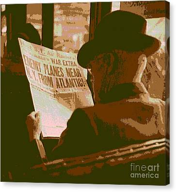 Reading The War News Canvas Print by Padre Art
