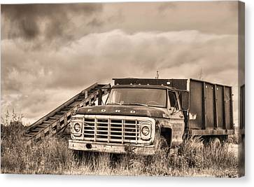 Ready For The Harvest Sepia Canvas Print by JC Findley