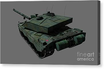 Rear View Of A British Challenger II Canvas Print by Rhys Taylor