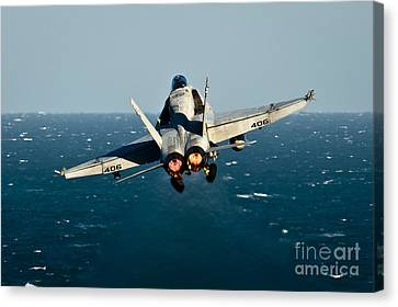Rear View Of An Fa-18c Hornet Taking Canvas Print by Stocktrek Images