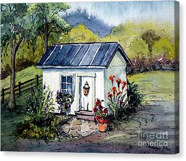 Canvas Print featuring the painting Rebecca's Shack by Gretchen Allen
