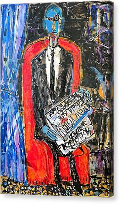 Recalling The Portrait Of An Unknown Man Reading A Newspaper Chevalier X By Andre Derain Canvas Print by Eria Nsubuga