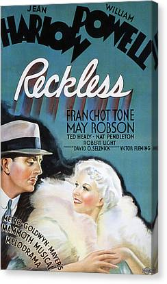 Reckless, William Powell, Jean Harlow Canvas Print by Everett