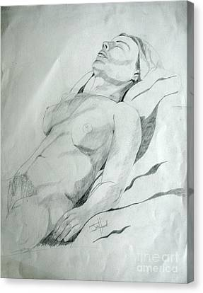 Reclining Nude Canvas Print by Julie Coughlin