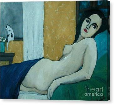 Reclining Nude With Cat Canvas Print by Terri Jordan