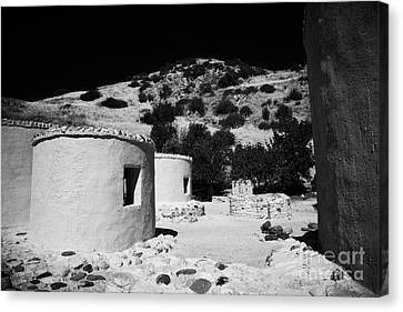 reconstruction of Choirokoitia ancient neolithic village settlement republic of cyprus Canvas Print by Joe Fox