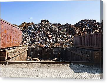 Recycle Dump Site Or Yard For Steel Canvas Print by Corepics