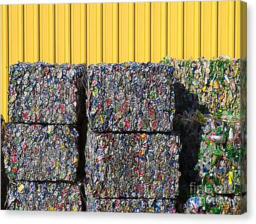 Recycled Aluminum Cans And Plastic Bottles Canvas Print