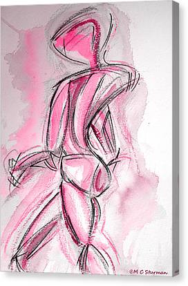 Red Abstract Nude Canvas Print by M C Sturman