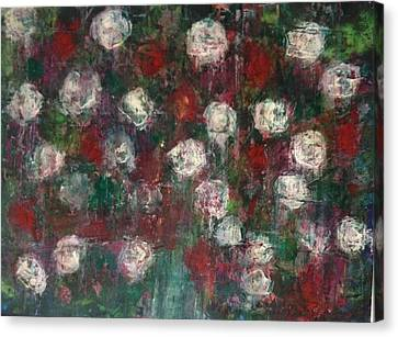 Red And White Roses Canvas Print by Kelli Perk